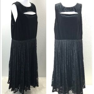 Lane Bryant Dress Plus 20 Black V Lace Pleated